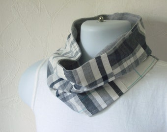 Preppy Navy and White Plaid Patchwork Cotton Loop Scarf Reversible to Athletic Gray Knit