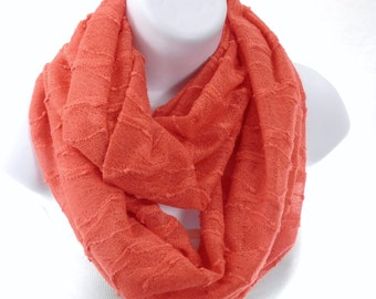 Coral Orange Infinity Scarf Textured Slub Knit Double Loop Circle Scarf by Thimbledoodle