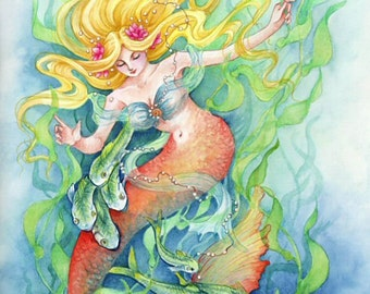 "Fantasy Art Print Mermaid Print ""Mermaid Dance"""
