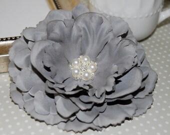 "Gray Fabric Flowers Large 4.5"" silk flower with crystal pearl center floral corsage flower DIY Grey hair flower headband flower Nancy Coll."
