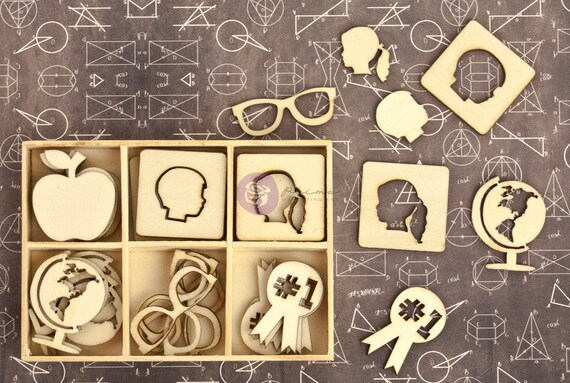 Wood Icons in a box - Prima School Memories 569600 - Die cut wood pieces (36 pcs) vintage small laser wood embellishments cut outs