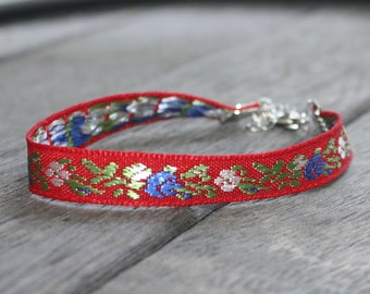 Embroidered Ribbon Bracelet -Red, Blue, Green and White Floral, Silver Findings, adjustable bracelet, arm party, boho bracelet
