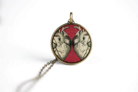 Human Heart Necklace  Two Hearts Anatomy Necklace - Vintage Human    Human With Two Hearts