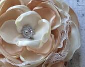 Ivory and beige satin flower, lace flower, bridal flower, satin flower, flower hair accessory, singed flower, flower headband