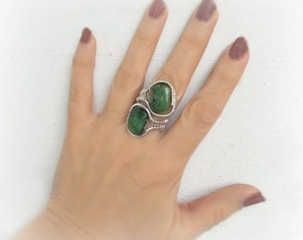 Wire wrapped ring, green semiprecious stones , wire wrapped jewelry handmade,  wire jewelry, boho jewelry,