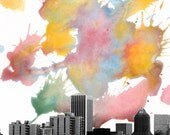 Portland Skyline  -  Oregon, United States - N.W Original Modern Fine Art Cityscape Water Color Painting- Print