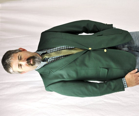 Men's Forest Green Blazer 44l Classic Menswear Vintage