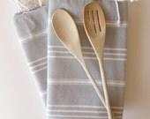 Set of  2 Turkish Ecofriendly Hand Towel (Peshkir), Tea Towel, Head Towel, Bath and Kitchen, Natural Soft Baby Towel, Gray, Mom Gift,