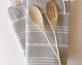 Set of  2 Turkish Ecofriendly Hand Towel (Peshkir), Tea Towel, Head Towel, Bath and Kitchen, Natural Soft Baby Towel, Gray, christmas gift