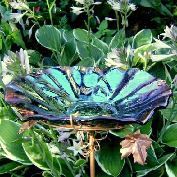 IRIDESCENT Bird Bath, Stained Glass, Black, Copper, Home Decor, Garden Art, Bird Feeder, Birdbath