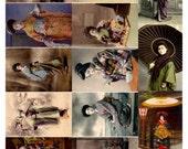 Geisha Japanese Women Collage Sheet V3,  Vintage Photos - Digital Download JPG File by Swing Shift Designs
