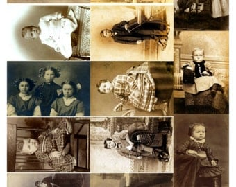Children - Child Collage Sheet, Vintage Photos - Digital Download JPG File by Swing Shift Designs
