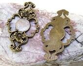 4PCS Q 10mm Cabochons Flower Link Antiqued Bronze Circle DIY Kits Link Fit Necklace & Bracelet , Pendant Jewelry Filigree Link Findings