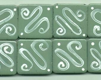 FREE SHIPPING 8 Hand Painted Squiggles Green & White Mosaic Tiles Tesserae Handmade Mosaics