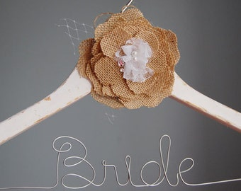 Burlap flower hanger, distress country hanger, white wooden distressed bride hanger, hangers for bridesmaids, bride hangars, lingerie hanger