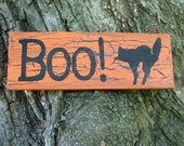Boo - Halloween Sign with Black Cat (Pumpkin Orange with Black Crackle Effect) Reclaimed Wood