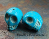 Magnesite dyed turquoise blue, 18mm Carved Skull  -last 3