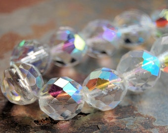 8mm Czech Beads Faceted  in AB Clear Crystal -25