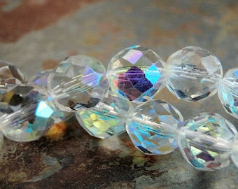 10mm Czech Beads Faceted  in AB Clear Crystal -16 inch strand