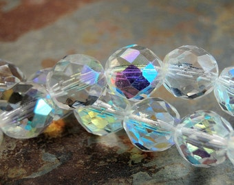 10mm Czech Beads Faceted  in AB Clear Crystal -10