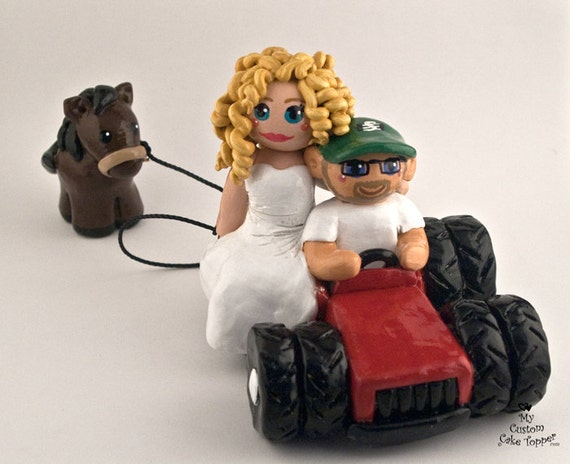 Bride And Groom Tractor With Horse Custom Wedding Cake Topper