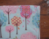Baby Blanket for a Girl - Blue and Pink Tree Print with White Faux-Chenille Backing
