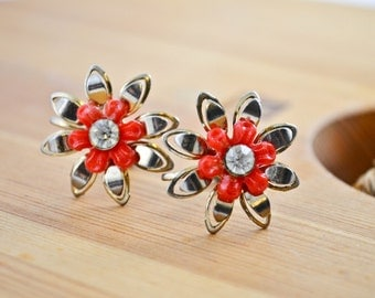 Gold tone and red Flower corkscrew earrings Costume Jewelry, Vintage Jewelry