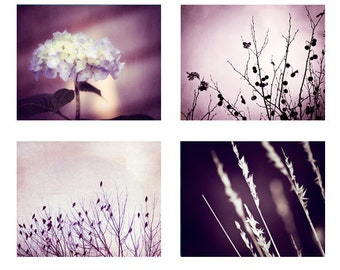 Purple Photo Set of 4 Photographs, 11x14, 8x10, 5x7 dark purple wall art nature violet modern fine art prints set botanical wall art photos