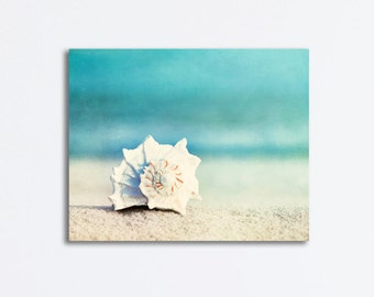 "Beach Canvas Art - seashell aqua blue shell white gallery wrap large seashore coastal wall art conch large nautical decor - 16x20 ""Paradise"""