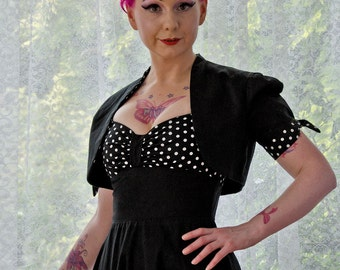 Polka Dot Bolero Jacket in Pin Up, 1950s and Rockabilly Black with Polka Dot Fabric Lapels and Sleeve Ties - Custom Made to Fit