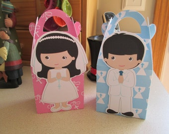My First Communion Black Hair Favor Boxes Set of 12