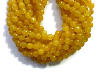 Apricot Yellow Jade - 8mm Faceted Round - 48 beads - Full Strand