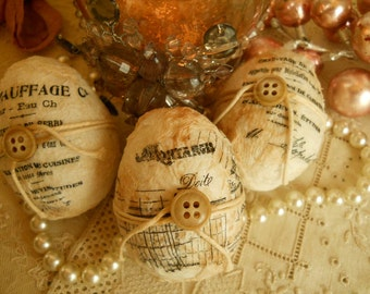 Jeanne d' Arc Home Decorating French Scripted Eggs Vintage and Antique Buttons Hen Sized Decorated Eggs Shabby Chic Paris Apt Nordic Decor
