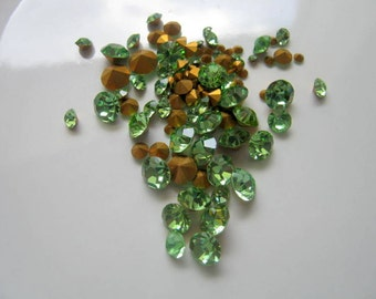 Clearance Vintage Swarovski Loose Peridot Rhinestones, Mixed Sizes