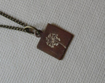 Teeny Tiny WISH UPON a DANDELION Vintage Brass (7mm) Minimalist Necklace