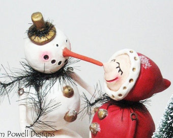 Custom Art Dolls - Christmas Whimsical - Christmas Scene - Winter Scene