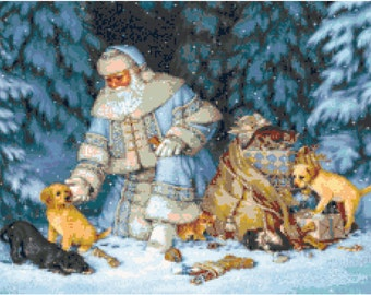 Blue Santa with Puppies and Kittens Cross Stitch Pattern
