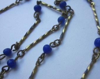 One Yard Vintage Dark Cobalt Blue  Glass Beaded Chain