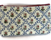 Hand block printed cotton quilted cosmetic pouch small bag case light green red flowers zipper