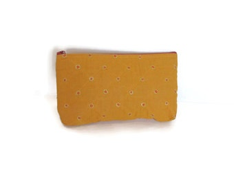 Hand block printed cotton quilted cosmetic pouch small bag case mustard with orange embroidered dots zipper