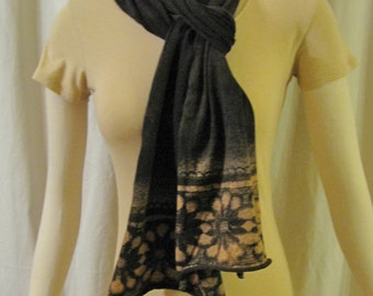 Black organic cotton jersey scarf color removal print peach flower wrap stretchy