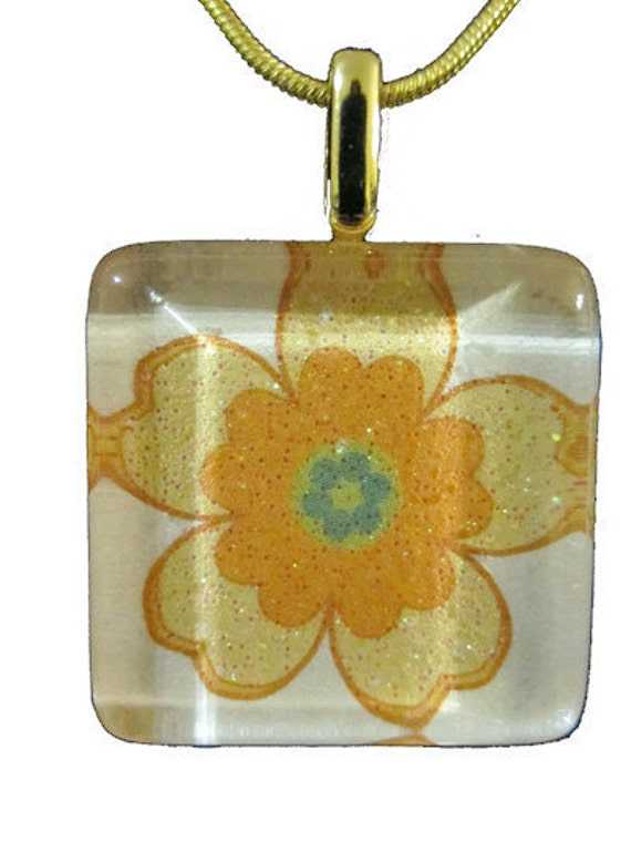 Go Green with my 1 inch square tille bright sunshine yellow glittery flower glass pendant eco friendly