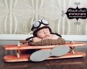 Aviator Pilot Baby Boy or Baby Girl Crochet Hat and Photography Prop Sizes Preemie, Newborn, 0-3 months, 3-6 months
