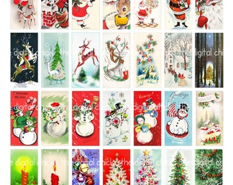 Christmas clipart, instant download, domino pendant--Santa Claus, snowman, Christmas trees--printable digital collage sheet, 8.5 by 11 1348