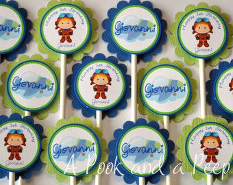 Airplane Pilot Blue and Green Personalized Cupcake Toppers Cupcake Picks