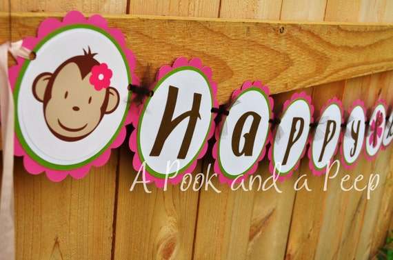Pink and Lime Green Monkey Happy Birthday Banner Shower Personalized Decoration