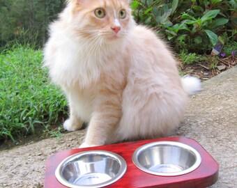 Cat Feeder - Pet Feeder -  Handmade - 2 stainless steel 1/2 Pint Bowls - Hand made Raised Cat/ Kitten Feeder - Gift - Cat Bowls -