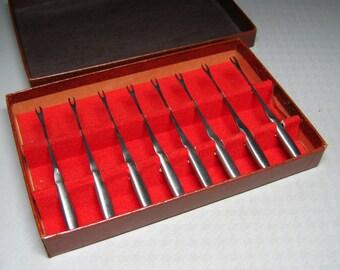 kalmar stainless hors d'oevres forks mid-century modern