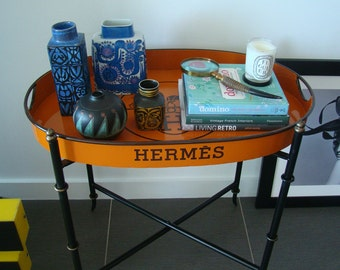Hermes inspired metal Tray with stand