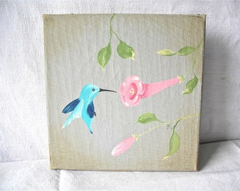 FRENCH PAINTING - Unique original distressed oil painting - A hummingbird and a flower - very shabby chic